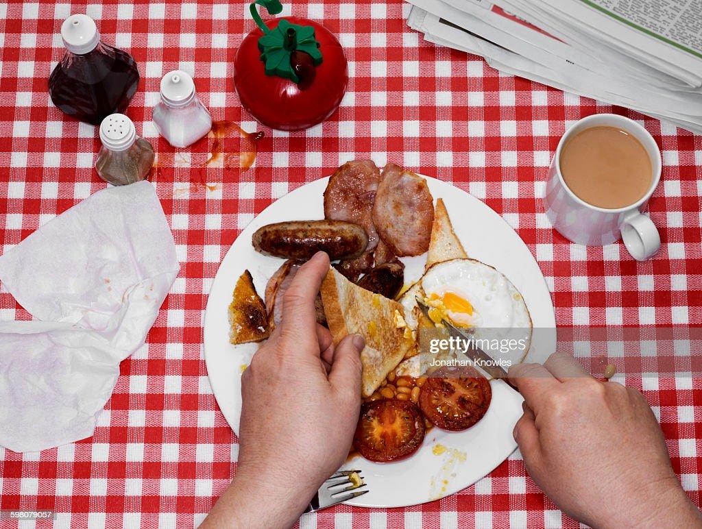 Full English breakfast with tea : Stock Photo