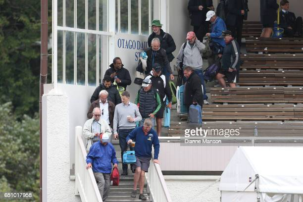 A full field evacuation during day three of the First Test match between New Zealand and South Africa at University Oval on March 10 2017 in Dunedin...