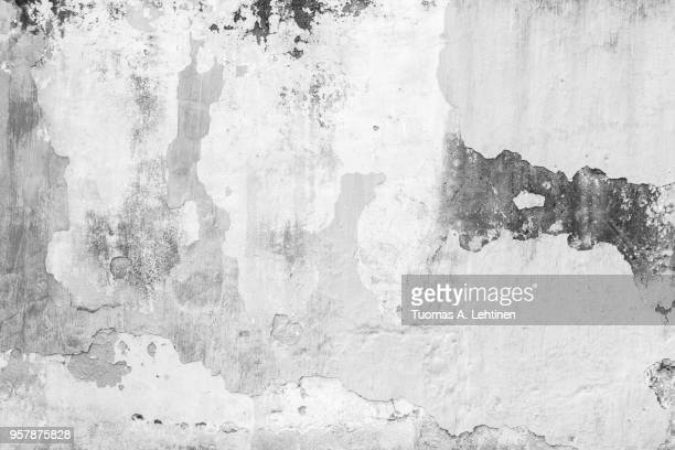 full frame background of weathered, faded and dirty concrete wall with plaster peeled off in black and white - getönt stock-fotos und bilder