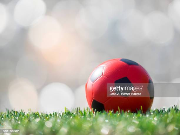 full frame, ball of football on the lawn of a soccer field illuminated by the light of the sun. spain - soccer league stock pictures, royalty-free photos & images