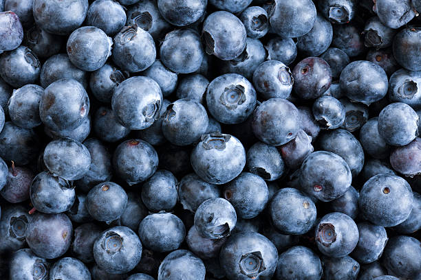 full frame close up background blueberries, large group of objects - 藍莓 個照片及圖片檔