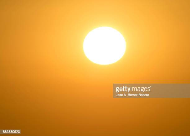 Full frame colorful of a sunset Sun with clear sky of orange color and the shining Sun