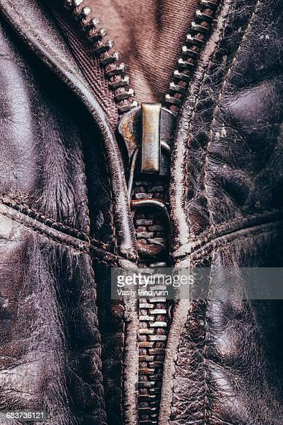 Full frame detail shot of leather jacket