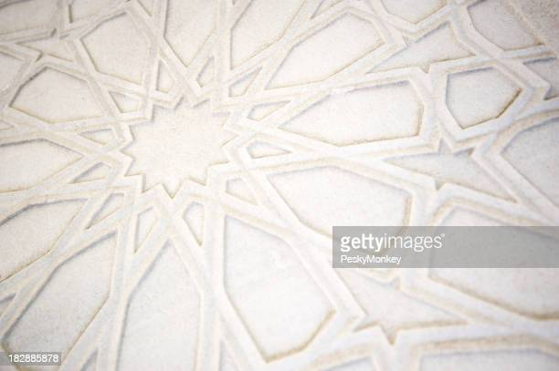 Full Frame Islamic Pattern White Marble Background