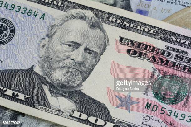 Full frame of a fifty dollar bill in US currency