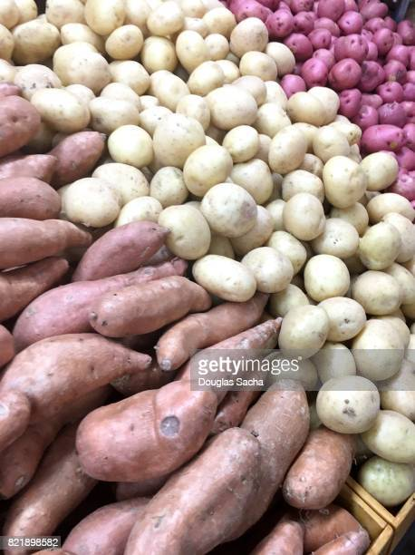 Full frame of a market display Potatoes