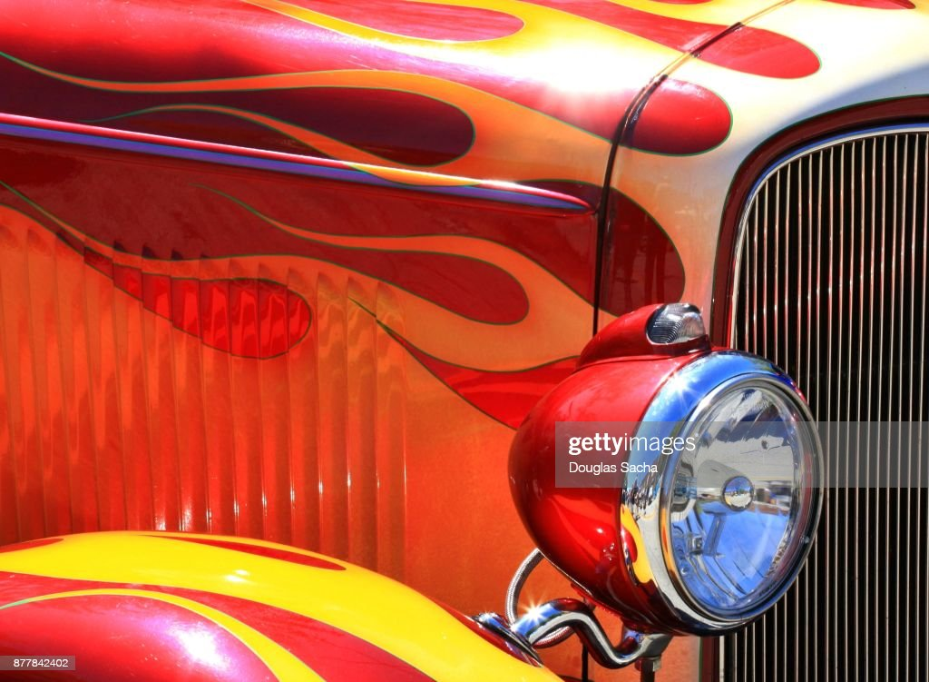 Full frame of a vintage muscle car : Stock Photo