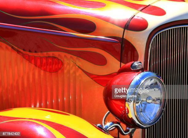 full frame of a vintage muscle car - hot rod car stock photos and pictures