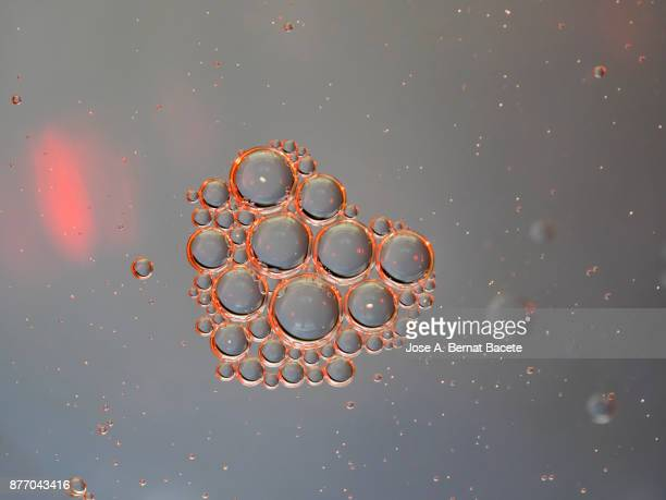 Full frame of abstract shapes and textures of circular red bubbles formed on a gray background