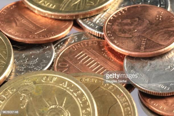 Full frame of an assortment of pocket change