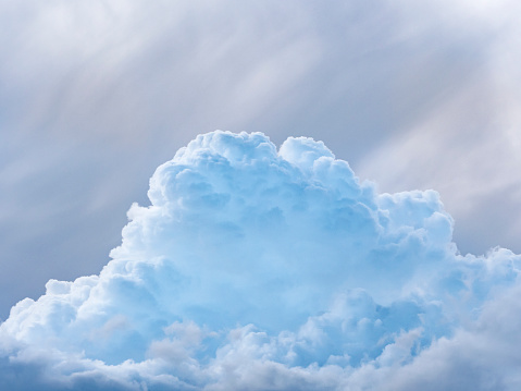 Full frame of blue sky and white clouds of storm, Cumulonimbus. - gettyimageskorea