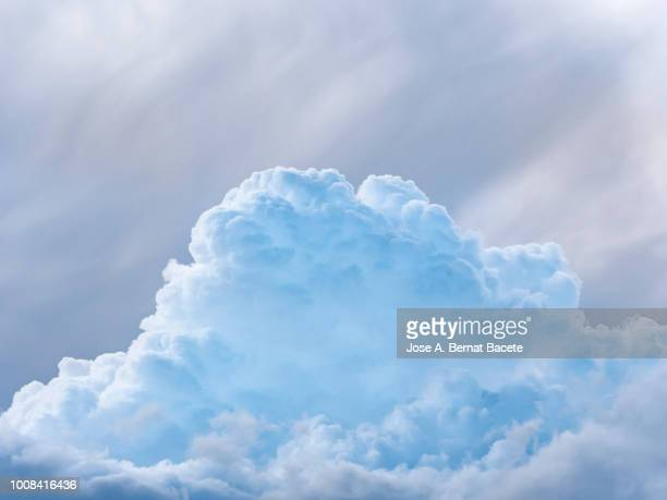 full frame of blue sky and white clouds of storm, cumulonimbus. - nuvens fofas imagens e fotografias de stock