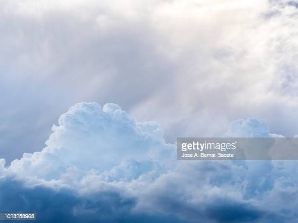 full frame of blue sky and white clouds of storm, cumulonimbus. - softness stock pictures, royalty-free photos & images