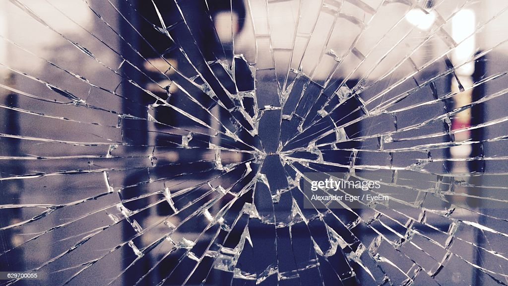 Full Frame Of Broken Glass : Stock Photo