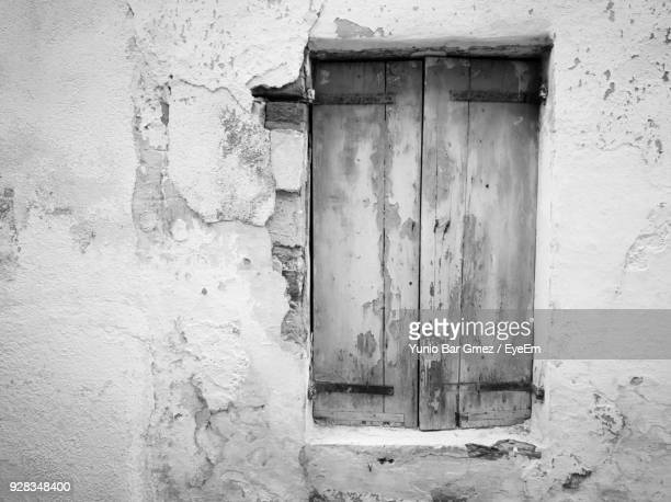 full frame of closed wooden window - whitewashed stock photos and pictures