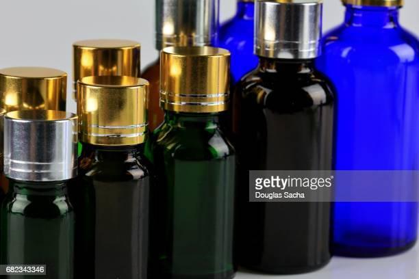 Full frame of colorful minature bottles