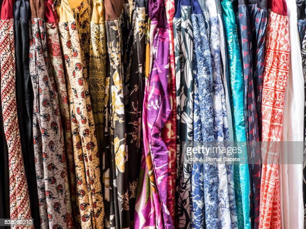 Full Frame  Of Colorful skirts At Market For Sale in outdoor. Street market in Begur, Catalonia, Spain