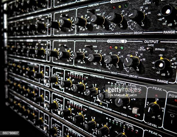 Full Frame Of Control Panel Of Sound Mixer