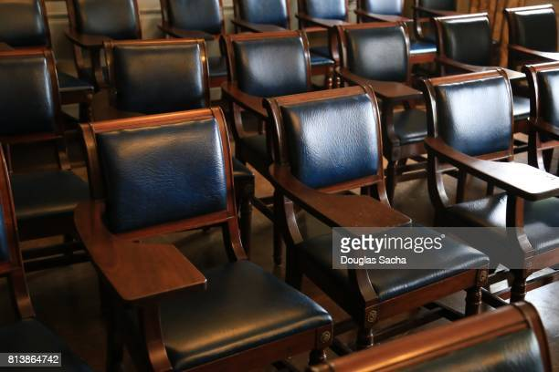 Full frame of empty seating in a lecture hall