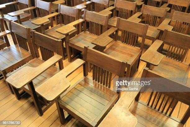 Full frame of empty seating in a schools lecture hall