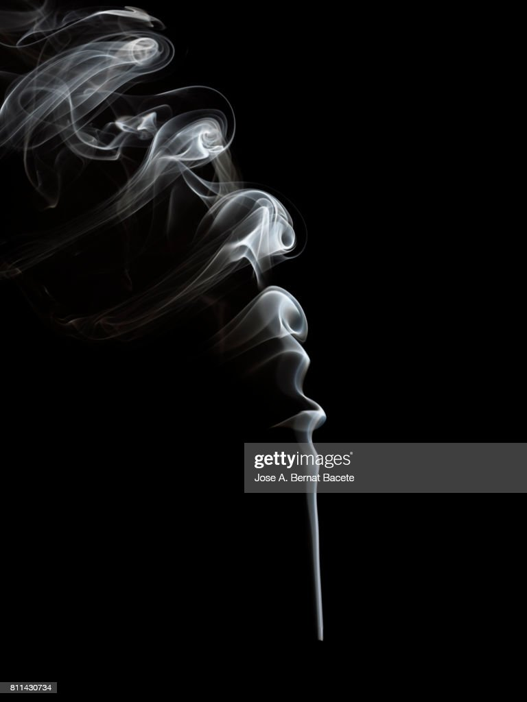 Full frame of forms and figures of smoke of color white in ascending movement produced, by an explosion on a black background : Stock Photo