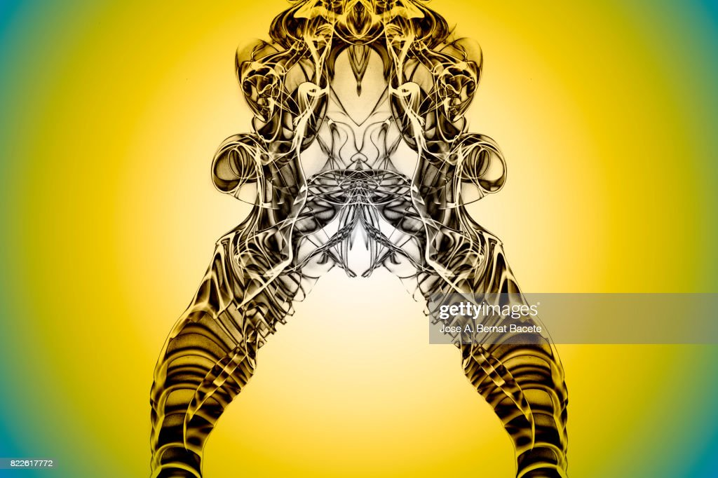 Full frame of forms and figures of smoke of color yellow and brow in ascending movement   on a yellow background : Stock Photo