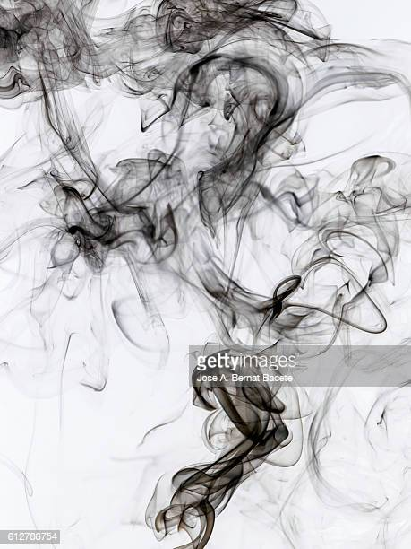 Full Frame of forms and shapes of gray smoke on a white background