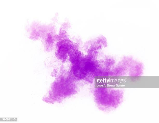 Full frame of forms and textures of an explosion of powder and smoke of color pink and violet on a white background.
