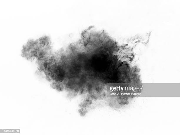 Full frame of forms and textures of an explosion of powder and smoke of color gray and black on a white background.