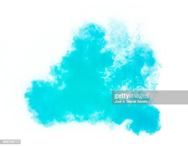 Full frame of forms and textures of an explosion of powder and smoke of color Light Blue on a white background.