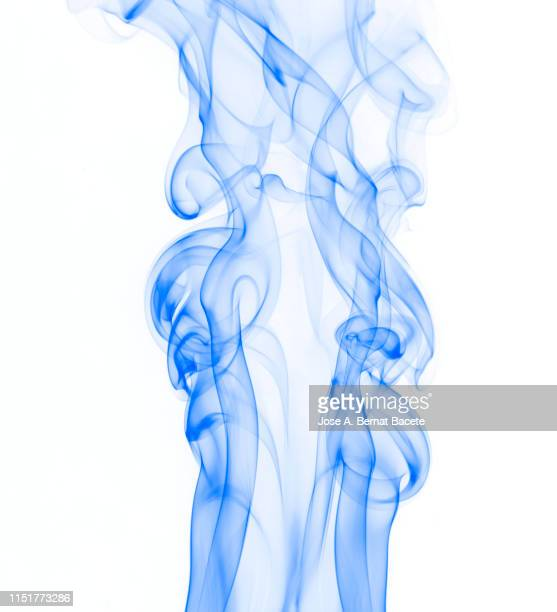 full frame of forms and textures of smoke of color blue on a white background. - translucent stock pictures, royalty-free photos & images