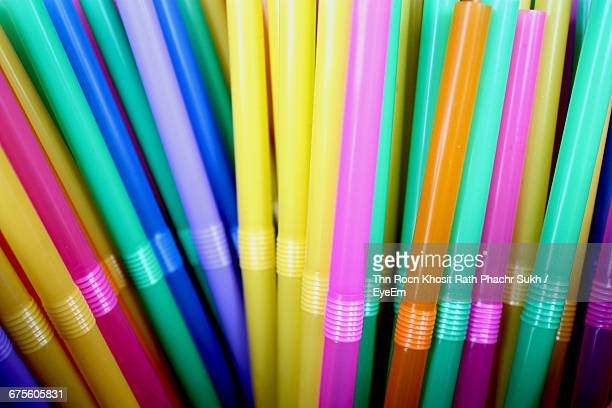 Full Frame Of Multi Colored Straw