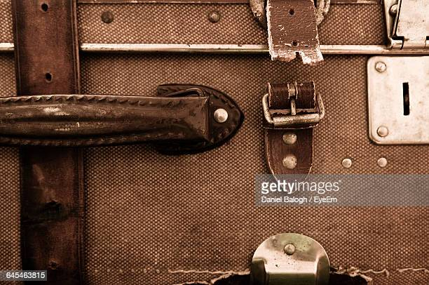 full frame of old suitcase - strap stock pictures, royalty-free photos & images