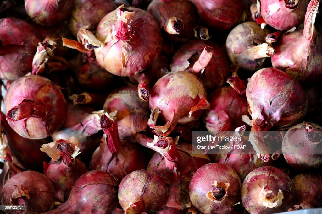 Full frame of onions : Stock Photo