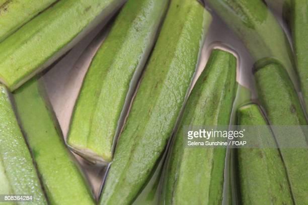 Full frame of preparing banana