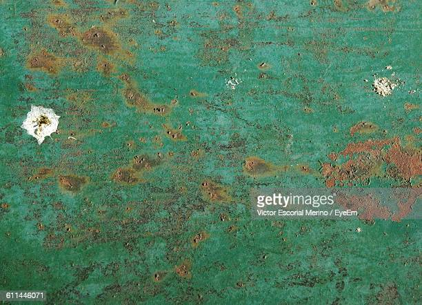Full Frame Of Rustic Green Metal Surface