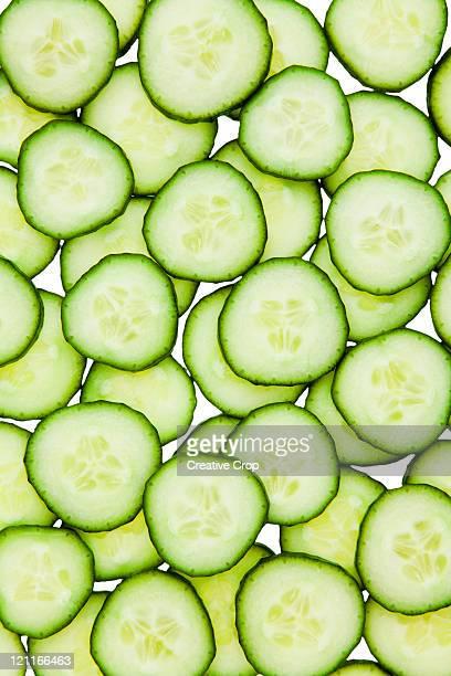 Full frame of sliced cucumber
