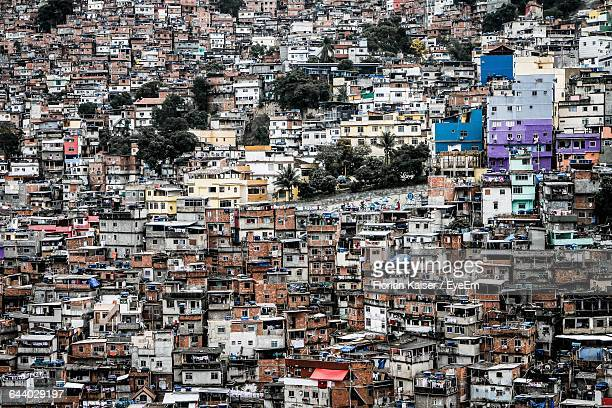 full frame of slum in city - favela stock pictures, royalty-free photos & images