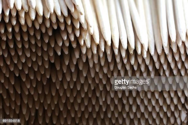 Full frame of staked toothpicks