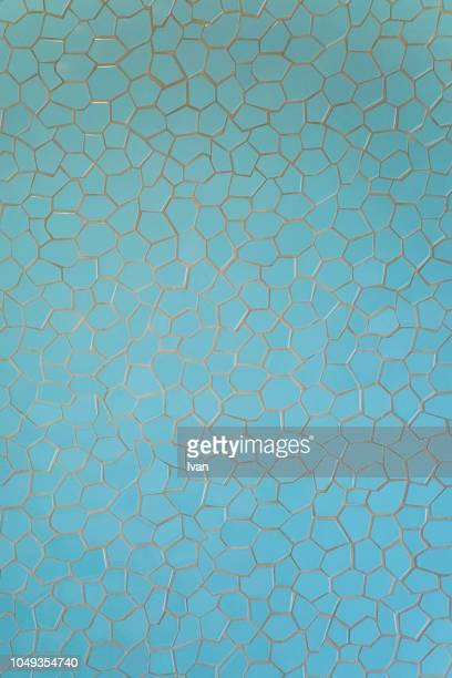 full frame of texture, blue mosaic wall - タイル ストックフォトと画像