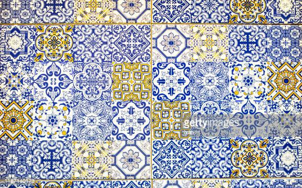 full frame of texture, colorful wall tiles - embellishment stock pictures, royalty-free photos & images