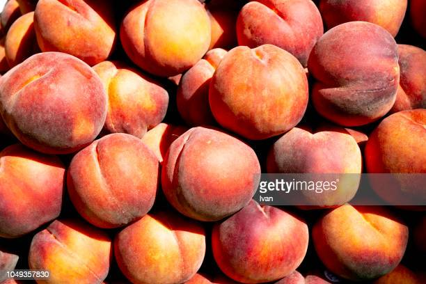 full frame of texture, fuit, fresh red peaches - peach tree stock pictures, royalty-free photos & images