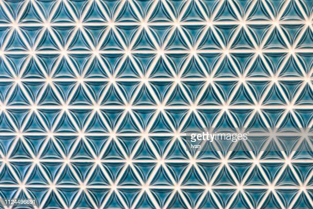 full frame of texture, patterned green pottery, glass wall - pavimento di mattonelle foto e immagini stock