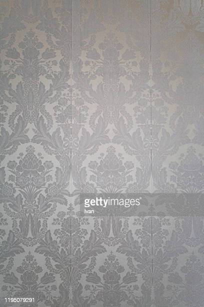 full frame of texture, repeated pattern - victorian wallpaper stock pictures, royalty-free photos & images