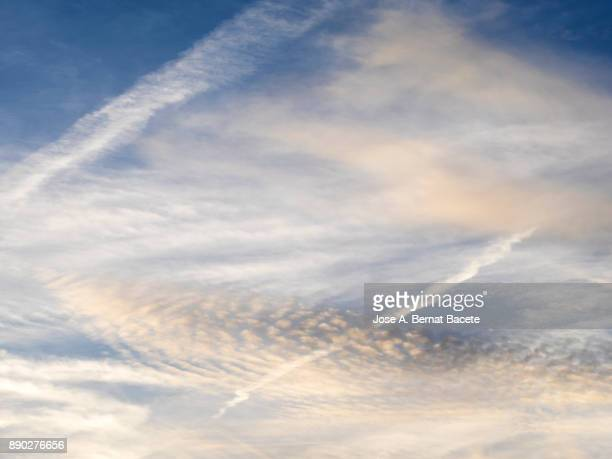 Full frame of the low angle view of clouds In sky during sunset. Valencian Community, Spain