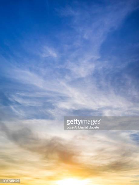 full frame of the low angle view of clouds in sky during sunset. valencian community, spain - elysium stock pictures, royalty-free photos & images
