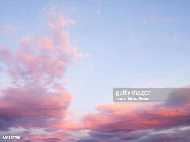 Full frame of the low angle view of clouds In sky during sunset with pink and fuchsia clouds. Valencian Community, Spain