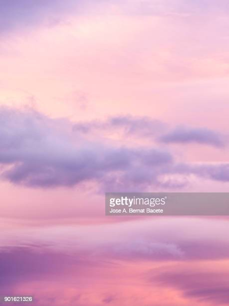 full frame of the low angle view of clouds in sky during sunset with pink and fuchsia clouds. valencian community, spain - crepúsculo fotografías e imágenes de stock