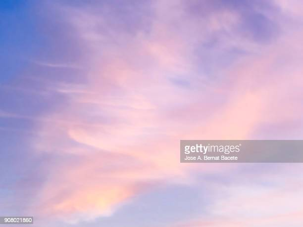 full frame of the low angle view of clouds in sky during sunset with pink and fuchsia clouds. valencian community, spain - colorful sunset stock photos and pictures