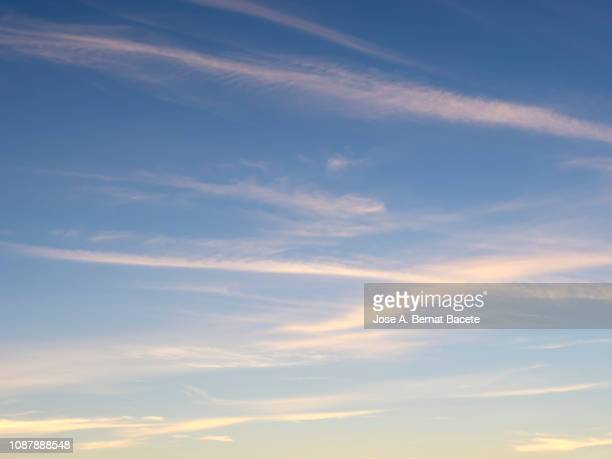 full frame of the low angle view of clouds of colors in sky during sunset with crepuscular light. valencian community, spain - hellblau stock-fotos und bilder